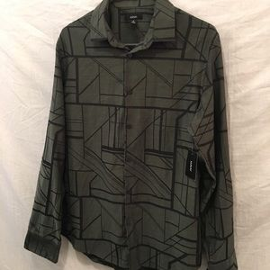 Olive and Black button up shirt WITH TAGS!
